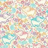 Elephants With Flowers Seamless Pattern Background Royalty Free Stock Image