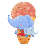 Elephants fly in a balloon. Two elephants fly in a balloon, watercolor illustration Royalty Free Stock Image