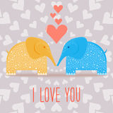 Elephants and hearts. Valentine's day card template Royalty Free Stock Image