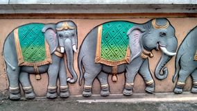 Elephants on a Hindu Temple in Kuala Lumpur Royalty Free Stock Photography