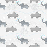 Elephants and hippos Royalty Free Stock Image