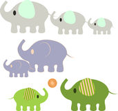 Elephants Illustaions. Green purple gray elephants illustrations with ball, baby elephants, big elephants, small elephants, mammals, animals, nature, fauna Stock Images