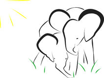 Elephants,  illustration Stock Photos