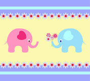 Elephants Illustrations, Elephants Card. Multicolor elephant illustrations, pink elephants, blue elephants, mammal illustrations,fauna, nature, yellow background Royalty Free Stock Photo