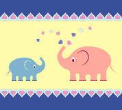Elephants Illustrations, Elephants Card. Multicolor elephant illustrations, pink elephants, blue elephants, mammal illustrations,fauna, nature, yellow background Royalty Free Stock Photography