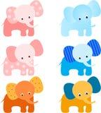 Elephants Illustrations. Multicolor elephant illustrations, pink elephants, blue elephants, yellow elephant, brown elephant, flower elephant, mammal Royalty Free Stock Images