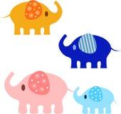 Elephants Illustrations. Yellow elephant, pink elephant, blue elephant, baby elephant, mammals, fauna, animals, nature Royalty Free Stock Photo