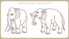 Elephants In Indian Style. Hand Drawn Silhouette. Vector Illustration. Elephant Tattoo. Stock Photo