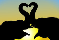 Elephants in love. Two elephants in love in front of  sunset Stock Images
