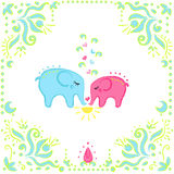 Elephants in love. Two color elephants in love with floral frame for your design Royalty Free Stock Image