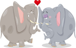 Elephants in love cartoon illustration Stock Photos