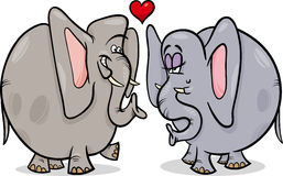 Elephants in love cartoon illustration Royalty Free Stock Images