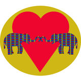 Elephants in love and heart Stock Photography