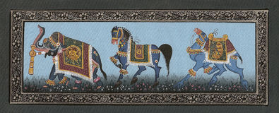 Elephants miniature painting on silk Stock Photo