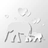 Elephants Mom and Son Love and Caring. Elephants Mom and Son Love Parenting and Caring Royalty Free Stock Photo
