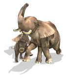 Elephants, mother and son. On white background with drop shadow. Clipping path included Royalty Free Stock Image