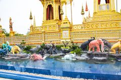 Elephants, Mythical creatures in an Anodat pond for royal of Thai kings 171105 0119. Elephants, Mythical creatures in an Anodat pond for royal of Thai kings royalty free stock images