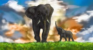 Elephants painting Stock Images