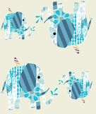 Elephants with patterned ears bodies repeat pattern. Cartoon elephants with patterned bodies repeat pattern Stock Photos