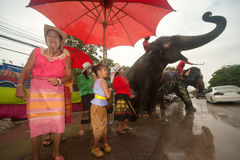 Elephants and peoples dancing in Songkran festival in Thailand. AYUTTAYA, THAILAND - APRIL 15: Songkran Festival is celebrated in a traditional New Year s Day royalty free stock images