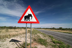 Elephants! Road sign Royalty Free Stock Photo