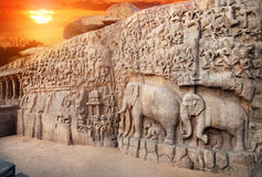 Elephants rock in Mamallapuram Royalty Free Stock Photos