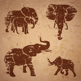 Elephants on a rock. Vector illustration royalty free illustration