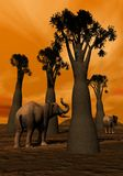 Elephants in the savannah Stock Photo