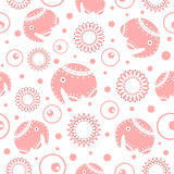 Elephants seamless pattern. Seamless background with elephants and flowers Royalty Free Stock Photos