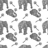 Elephants seamless pattern in asian style. Mandala style background. Vector illustration. Elephants seamless pattern in asian style. Mandala style background Royalty Free Stock Images