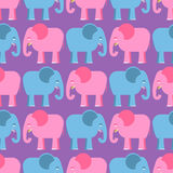 Elephants seamless pattern. Blue and pink animals of  jungle. Stock Image
