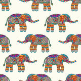 Elephants seamless pattern. Colorful background. Hand draw anima. Ls. Vector illustration Stock Images