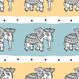 Elephants. Seamless pattern. Elephants. Ethnic seamless background Hand drawn Vector pattern Royalty Free Stock Photo