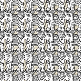 Elephants. Seamless pattern. Elephants. Ethnic seamless background Hand drawn Vector pattern Stock Photo