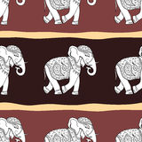 Elephants. Seamless pattern. Elephants. Ethnic seamless background Hand drawn Vector pattern Royalty Free Stock Image