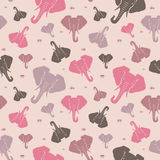 Elephants. Seamless pattern. Pink. Royalty Free Stock Image