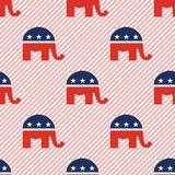 Elephants seamless pattern on red stripes. Elephants seamless pattern on red stripes background. USA presidential elections patriotic wallpaper. Repeated Vector Illustration