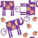 Elephants seamless pattern and seamless pattern in swatch menu, vec. Tor image stock illustration