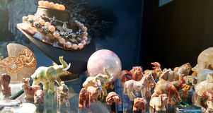 Elephants  of semi precious stones. Elephants in a souvenir store Royalty Free Stock Images