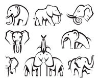 Elephants set Royalty Free Stock Photo