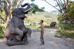 Elephants show capability to sit down Stock Photo