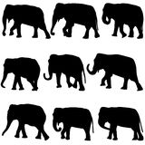 Elephants silhouettes set Stock Photography