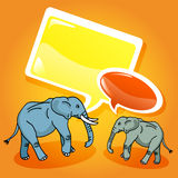 Elephants with speech bubbles Stock Photos