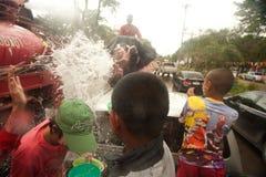 Elephants splashing water in Songkran festival in Thailand. Royalty Free Stock Images