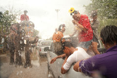 Elephants splashing water in Songkran festival in Thailand. AYUTTAYA, THAILAND - APRIL 15: Songkran Festival is celebrated in a traditional New Year s Day from stock image