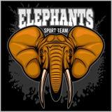 Elephants - sport club team symbol. Safari hunt badge of yellow, elephant tusk. Stock Photos