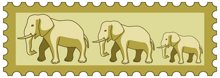 Elephants on stamp Royalty Free Stock Photo