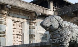 Elephant sculpture in stone at Hindu temple in Beluru, Karnataka, India Royalty Free Stock Images