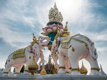 Elephants statue lift lotus to praise King of Thailand Royalty Free Stock Image