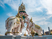 Elephants statue lift lotus to praise King of Thailand Royalty Free Stock Photos